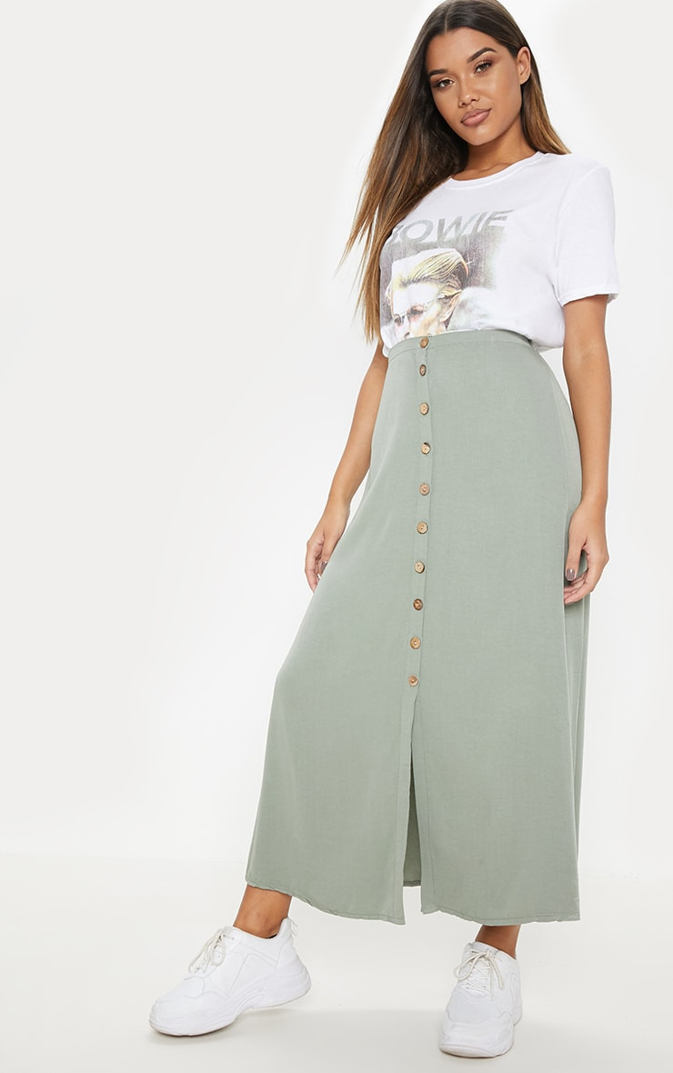Sage Green Button Front High Waisted Midi Skirt 1