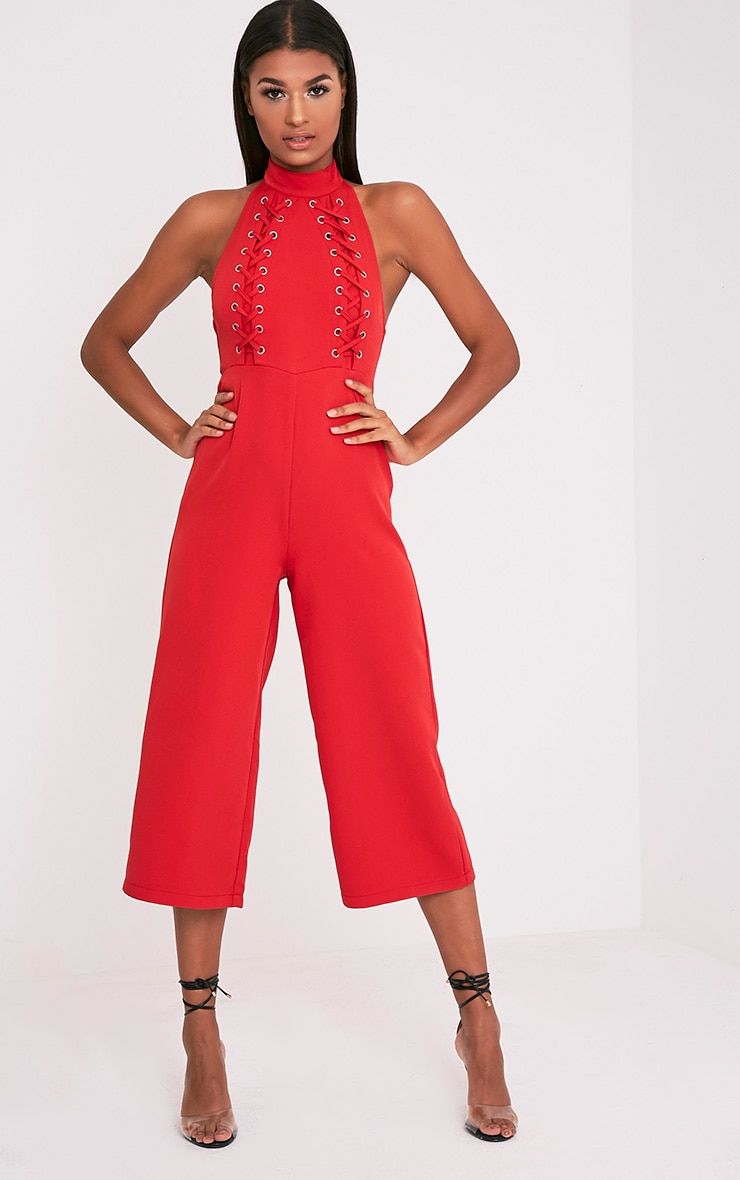 bd2e49c01c69 Stephanie Red Lace Up Cullote Jumpsuit - Dresses - PrettylittleThing ...