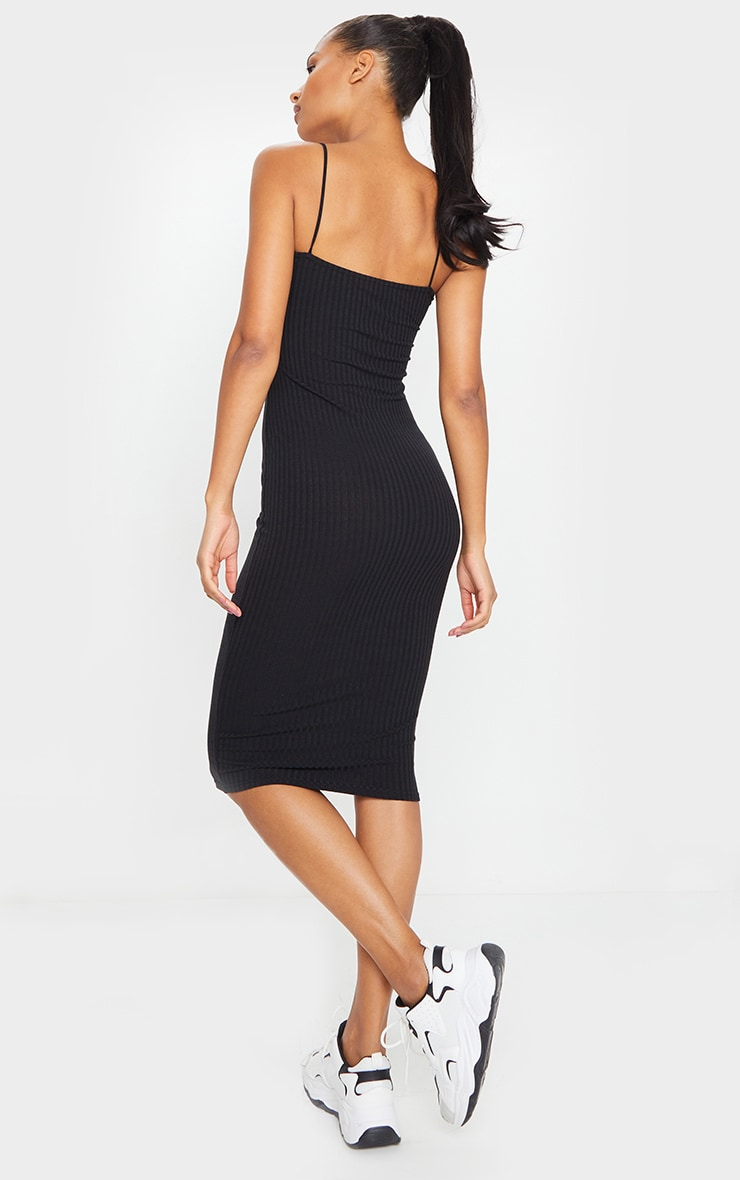 Black Ribbed Strappy Midi Dress 2