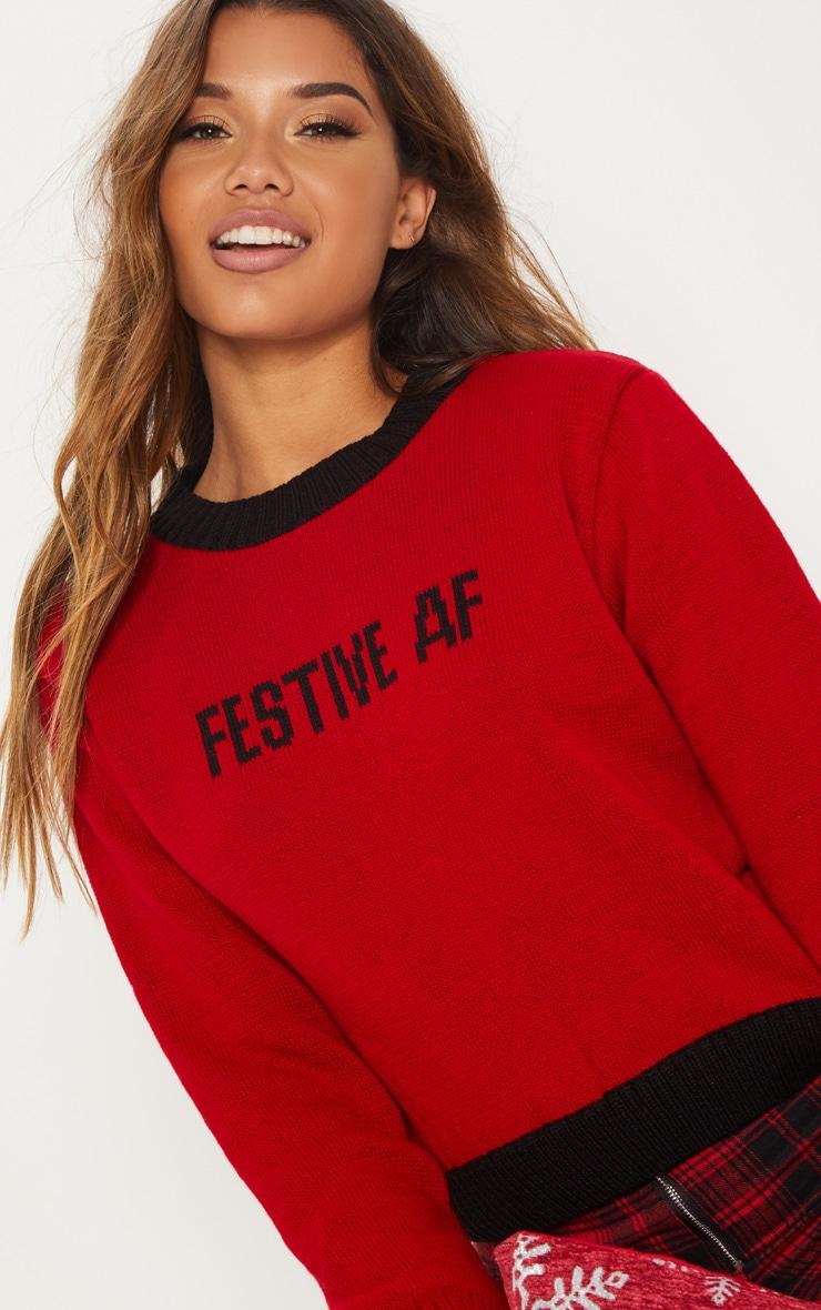 Red Festive AF Slogan Jumper  5