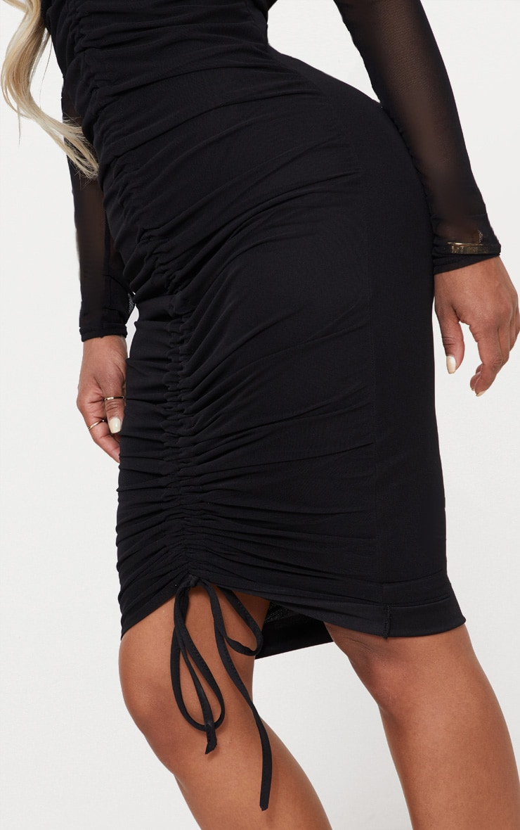Shape Black Mesh Ruched Bardot Midi Dress 5
