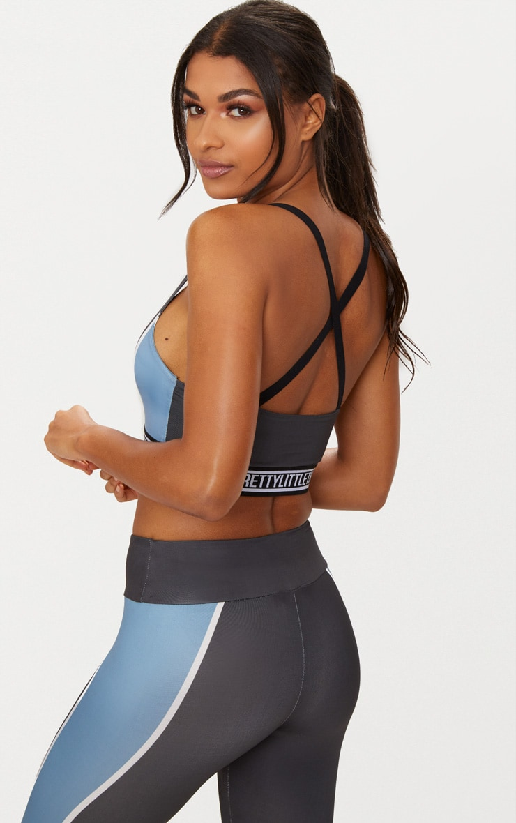 Charcoal Strappy Cross Back Crop Top with Blue Panels 2