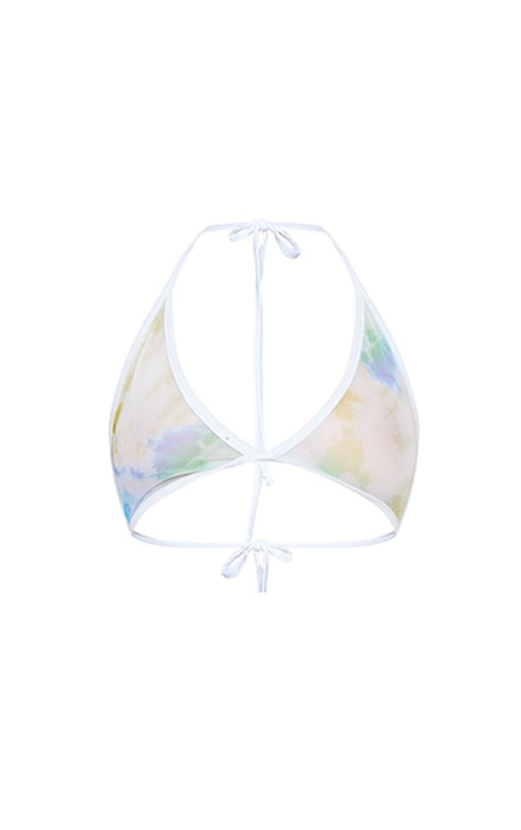 Plus Baby Blue Sheer Tie Dye Triangle Bralet 4