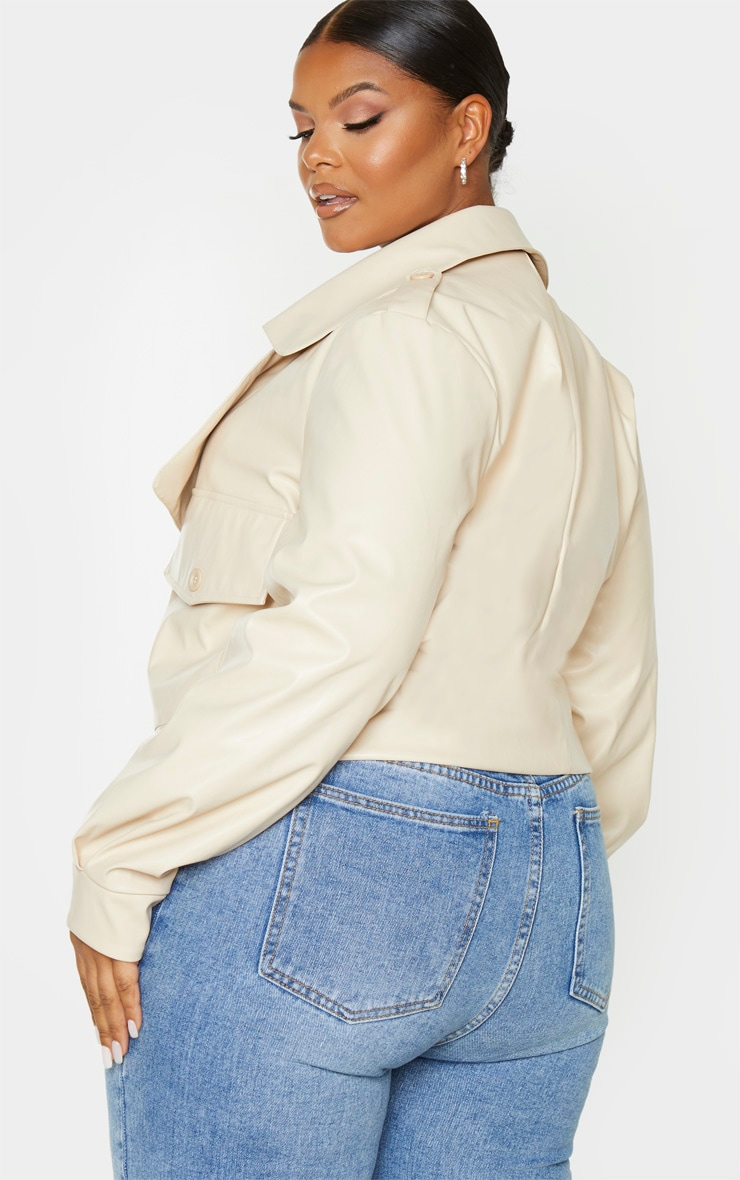 Plus Cream PU Buckle Detailed Biker Jacket 2