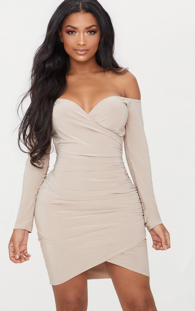 Stone Shape Slinky Ruched Detail Bardot Dress  1