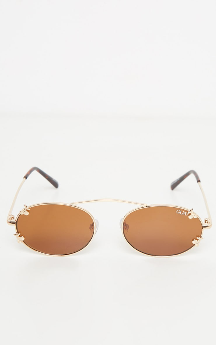 QUAY AUSTRALIA X FINDERS KEEPERS Gold Frame Brown Lens Sunglasses 3