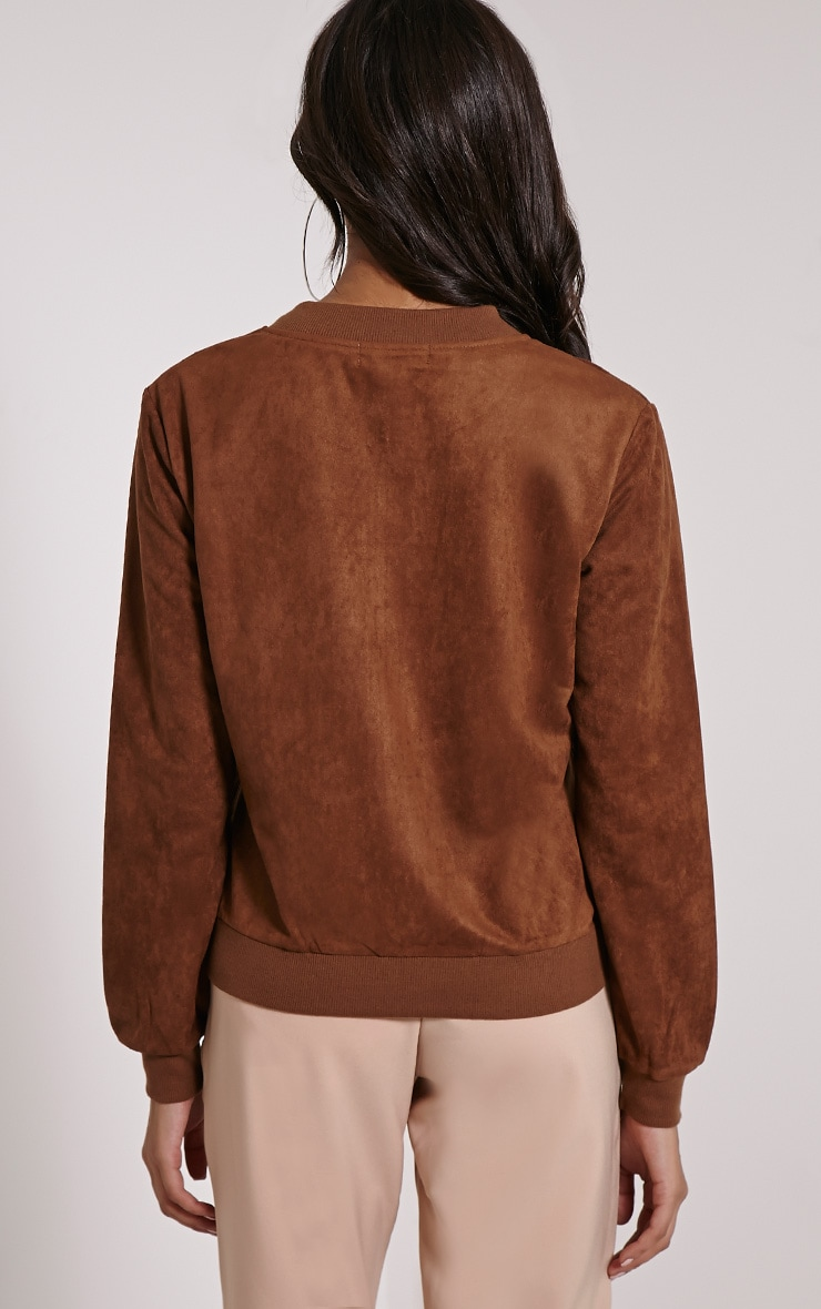 Riva Brown Faux Suede Bomber Jacket 2