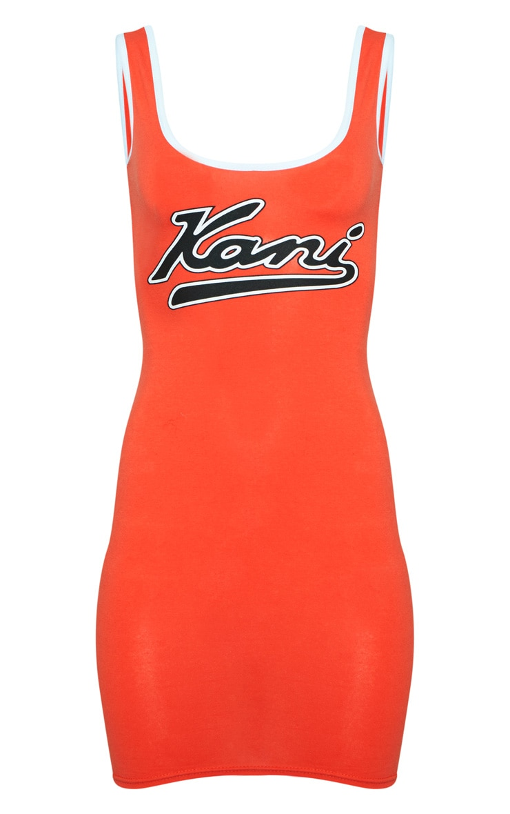 KARL KANI Orange Bodycon Dress 4
