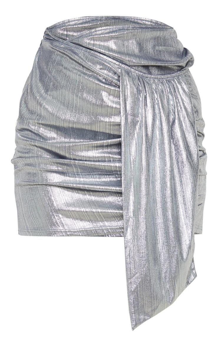 Silver Metallic Ruched Mini Skirt 3