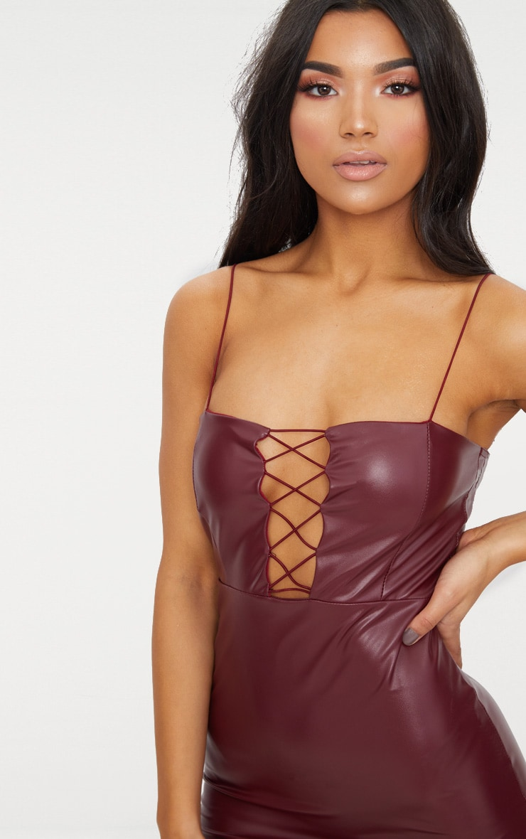 Maroon Strappy Lace Up PU Bodycon Dress 5