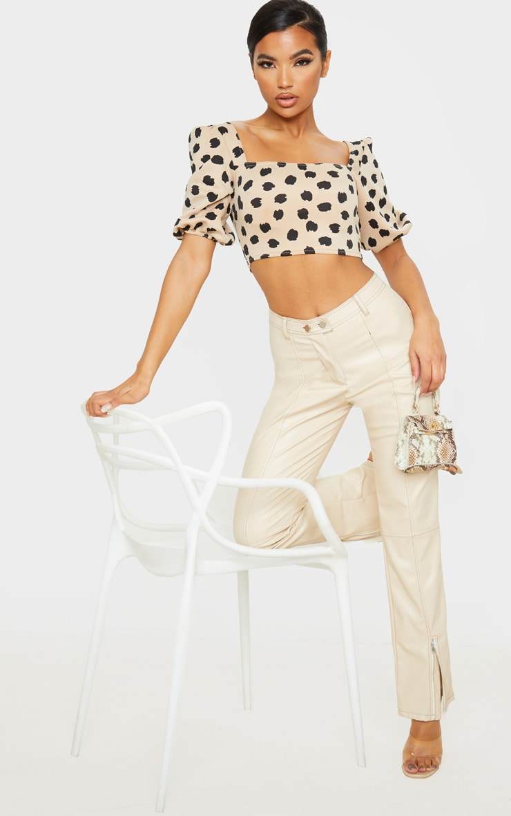 Tan Scuba Leopard Floral Print Short Puff Sleeve Crop Top 4