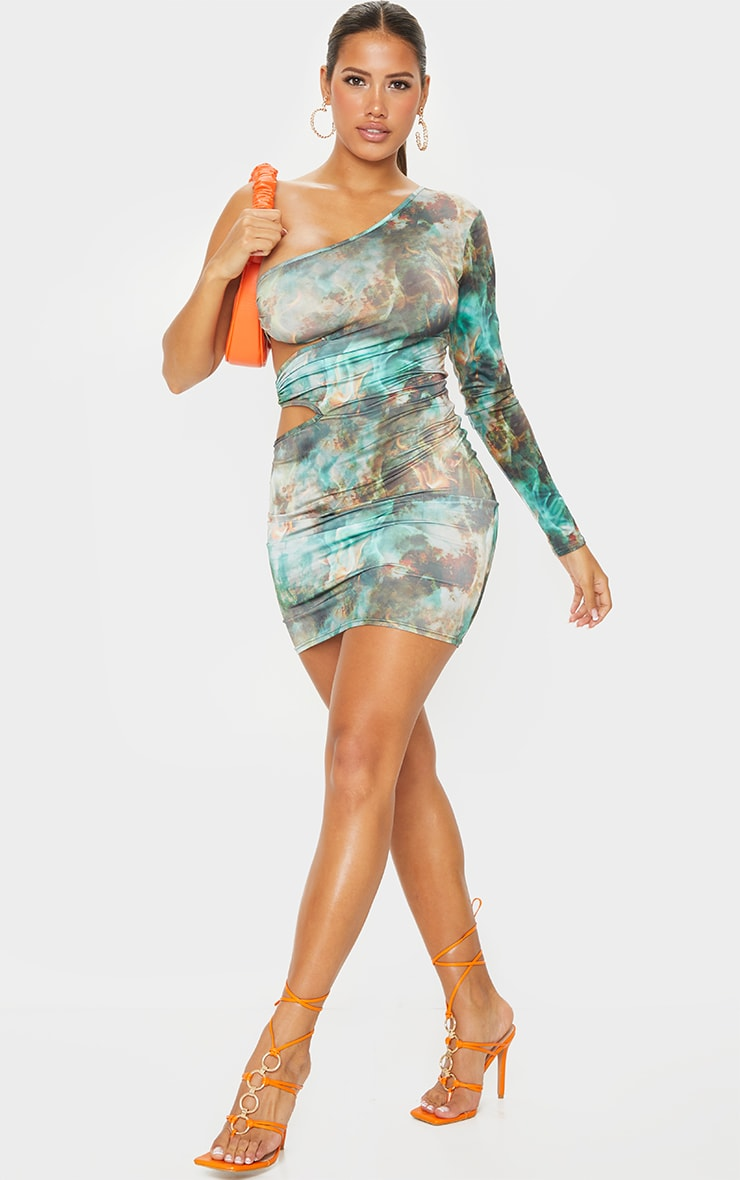 Shape Green Flame Print Ring Detail One Shoulder Bodycon Dress 3