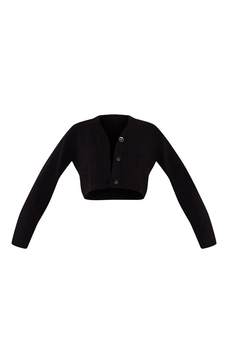 Black Soft Knit Slouchy Button Cardigan 5