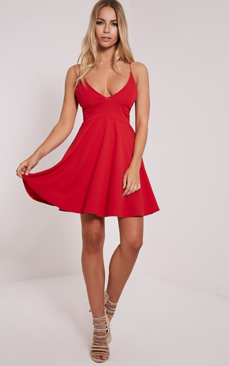 Luccie Red Crepe Skater Dress 4