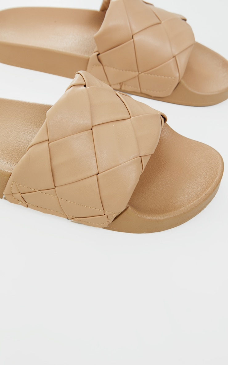 Taupe Platted Woven Pu Sliders 4