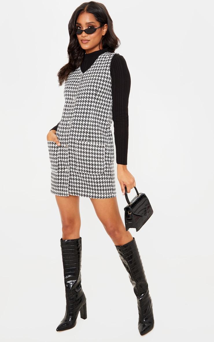Monochrome Houndtooth Check Denim Mini Dress  4
