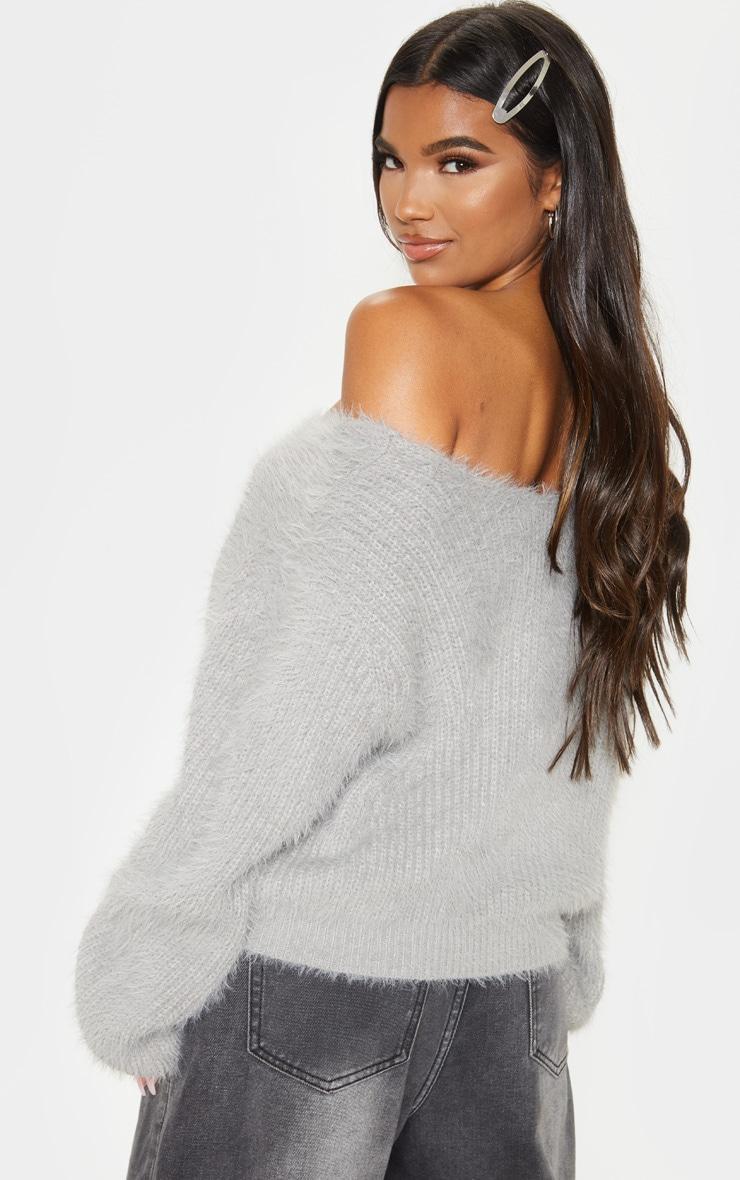 Grey Eyelash Knitted Sweater 2
