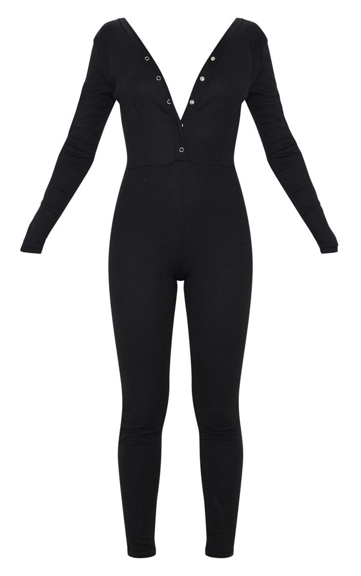 Black Fine Rib Button Up Long Sleeve Jumpsuit 3