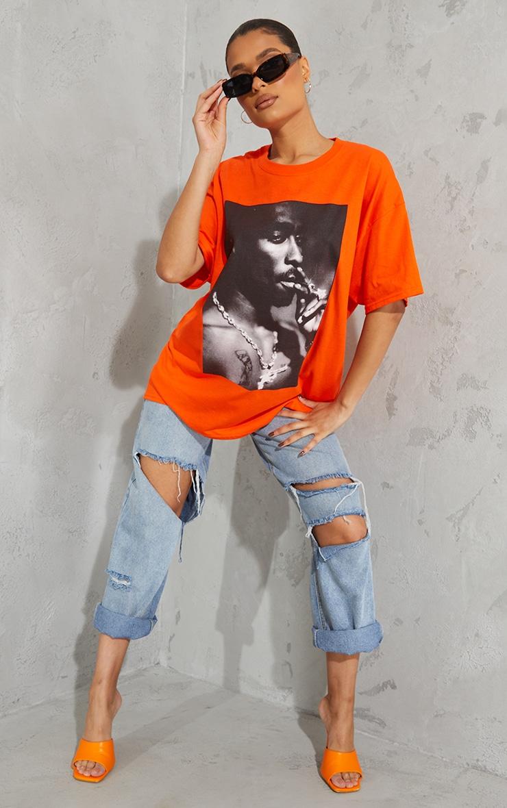 Orange Tupac Portrait Print T Shirt 1