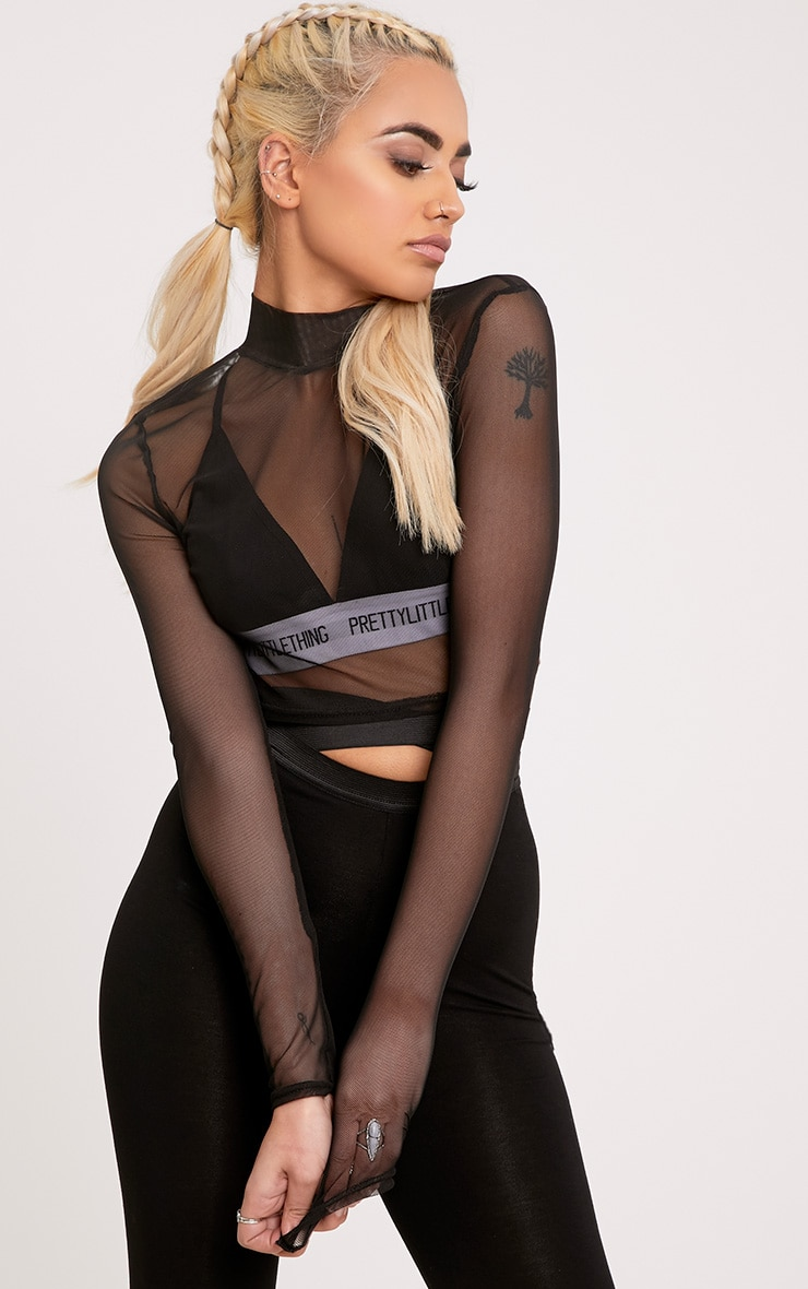 Janie Black Mesh High Neck Longsleeve Crop Top 1