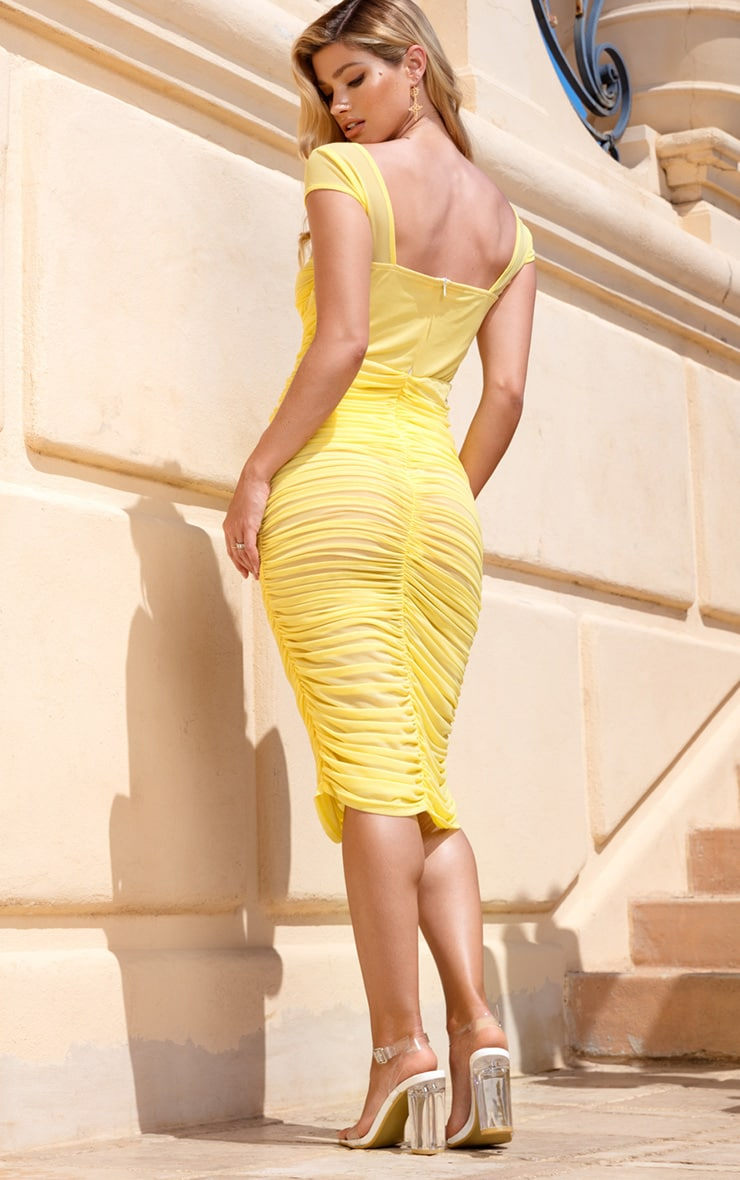 Lemon Mesh Ruched Midi Dress 2