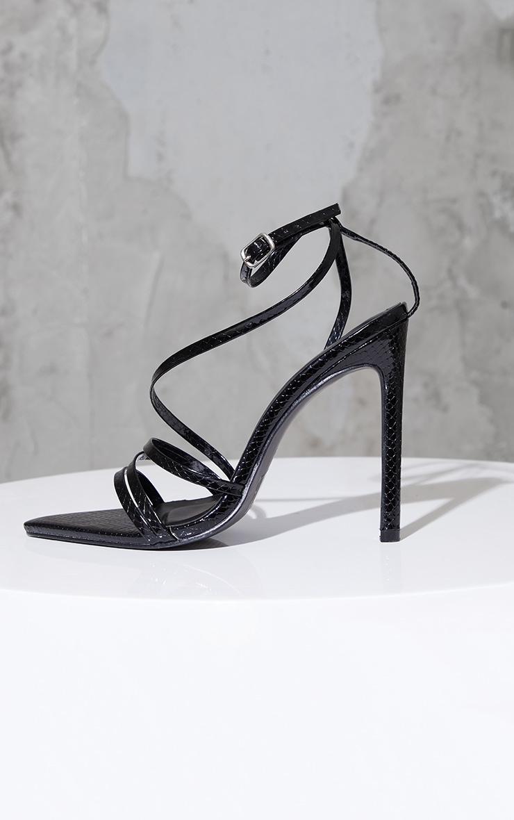Black Patent Snake Pu Point Toe Strappy Stiletto Heel Sandals 4