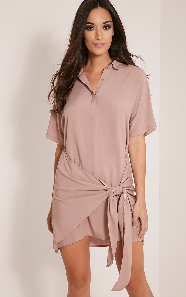 Chessca Nude Tie Front Shirt Dress 1
