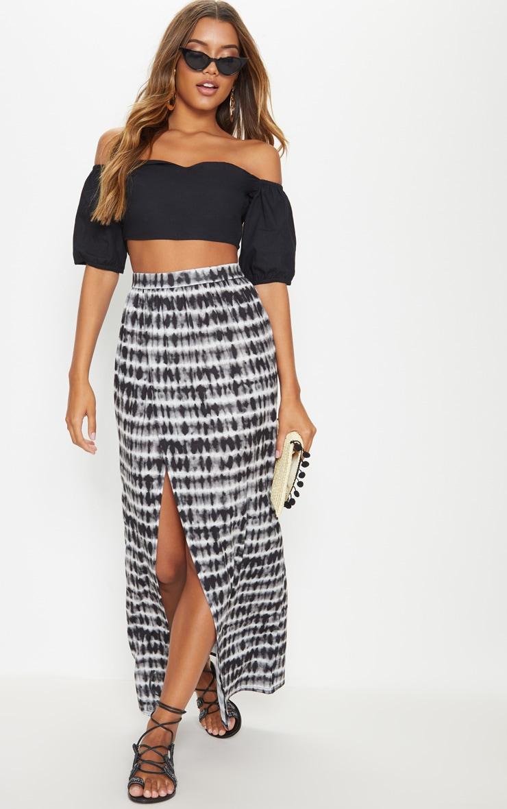 Black Tie Dye Wrap Front Maxi Skirt