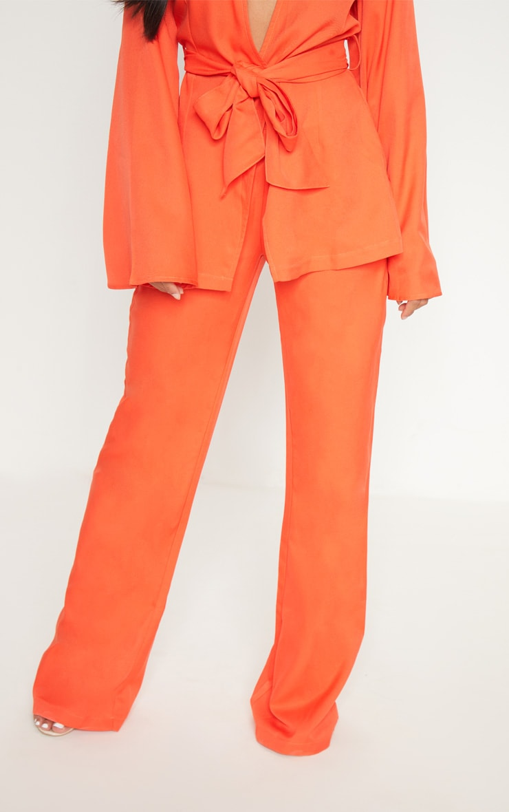 Petite Orange Wide Leg Suit Trousers 2