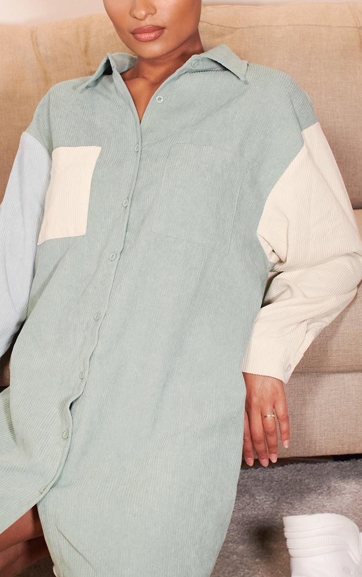 Sage Green Cord Pocket Front Oversized Shirt Dress 4