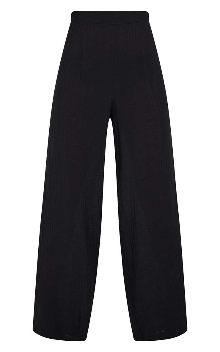 Black Cotton Wide Leg Trouser 3