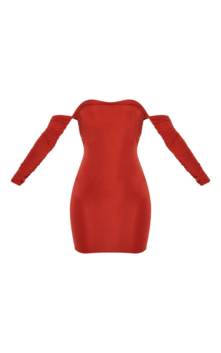 Rust Ruched Front Ruched Arm Bardot Bodycon Dress 3