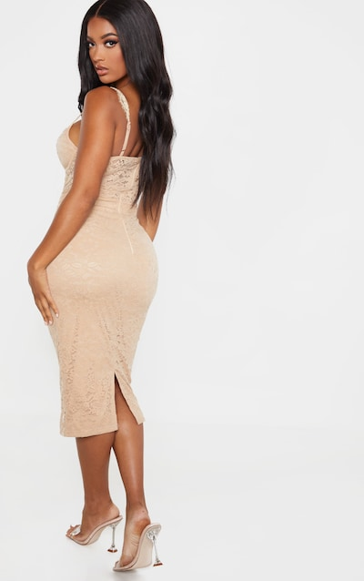 Shape Stone Lace Mesh Stripe Midi Dress