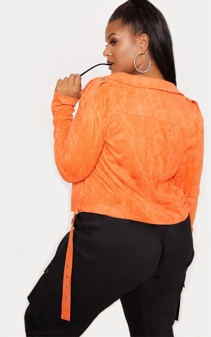 Plus Orange Faux Suede Biker Jacket 2