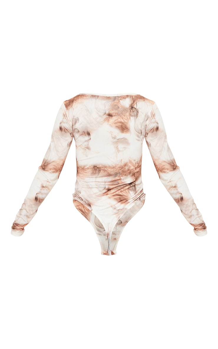 Nude Smoke Printed Soft Touch Square Neck Long Sleeve Bodysuit 6
