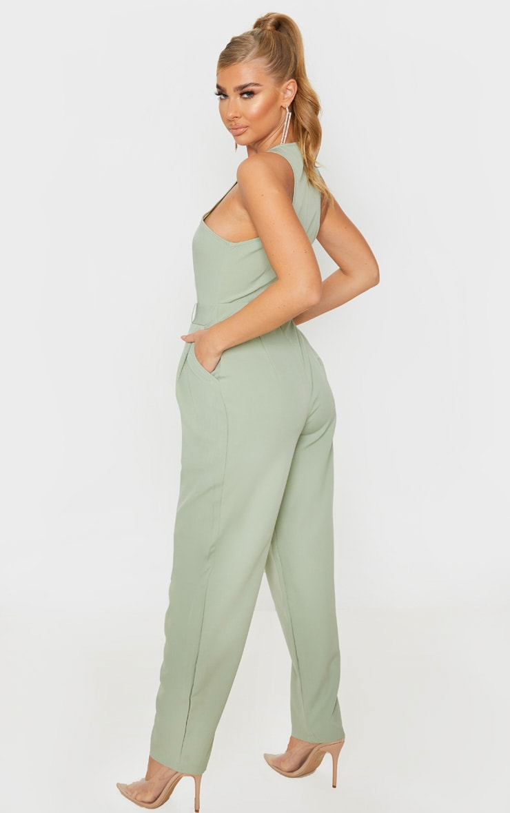 Sage Green Racer Back Pocket Detail Jumpsuit 2