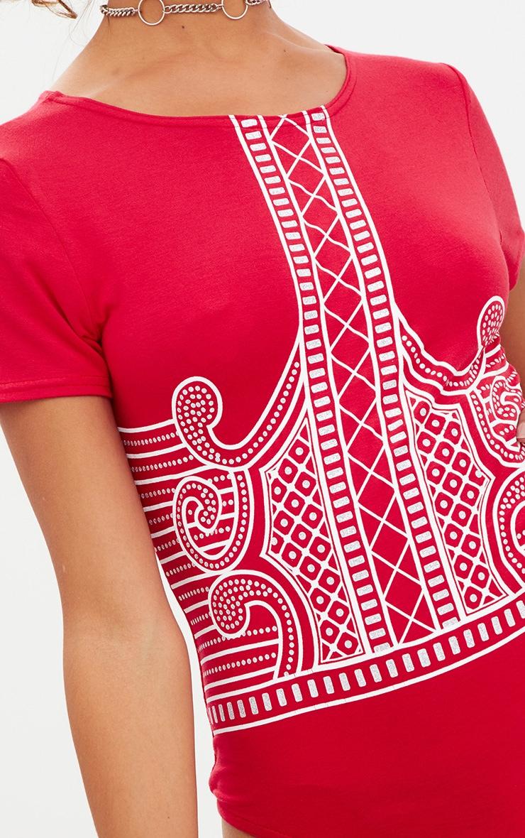 Petite Red Printed Short Sleeve Bodysuit 4