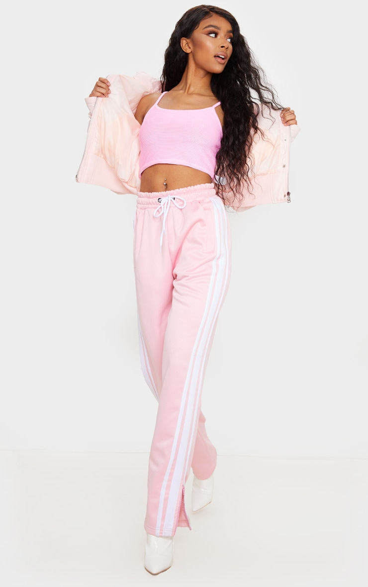 Baby Pink Structured Rib Crop Cami 3
