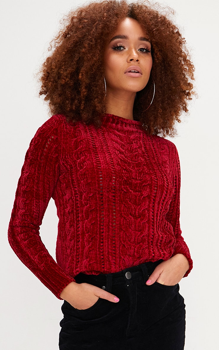 Red Chenille Cable Jumper 1