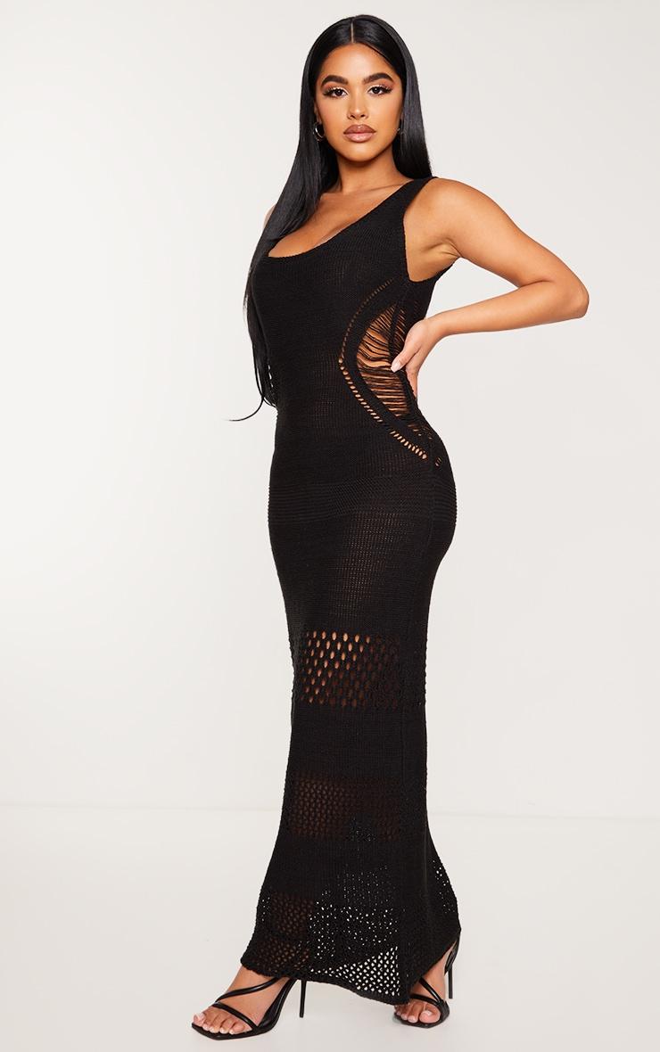 Petite Black Crochet Plunged Maxi Dress 3