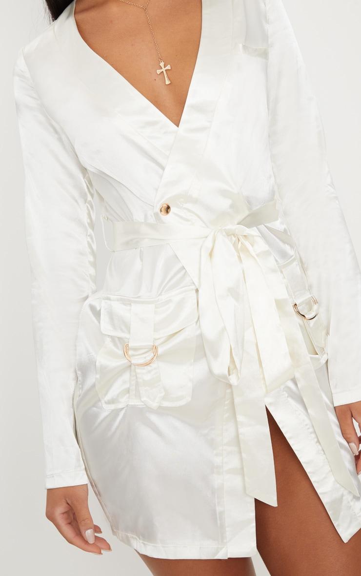 White Satin Utility Long Sleeve Bodycon Dress 5