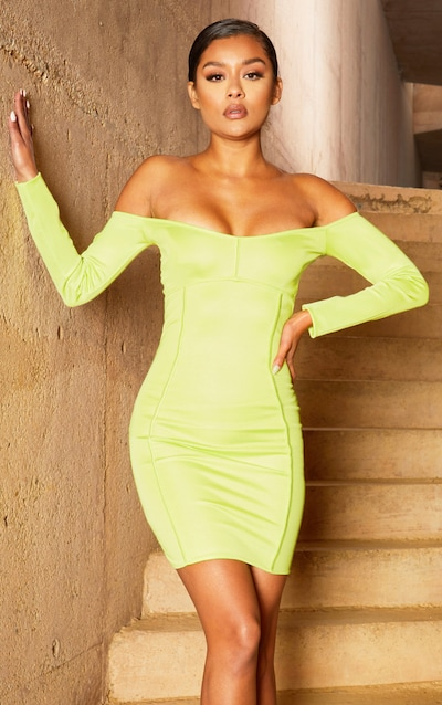 1a07b220b9 Lime Second Skin Bardot Binding Detail Bodycon Dress