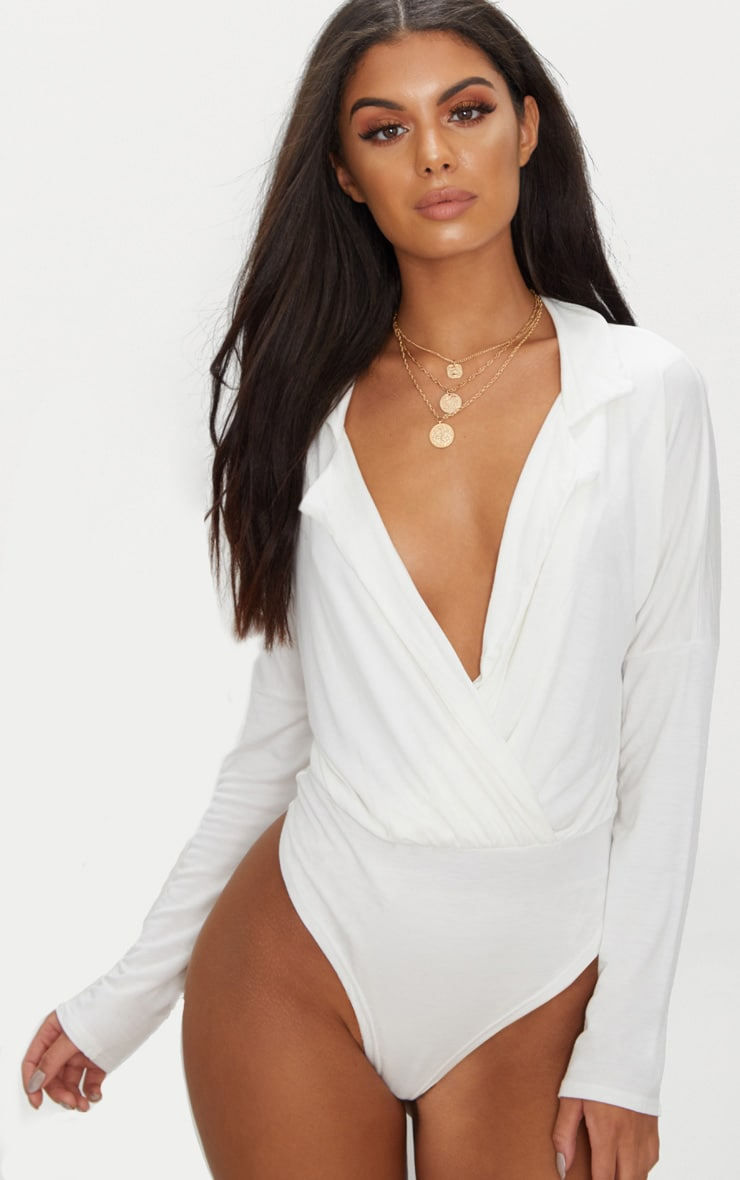 White Jersey Blazer Detail Thong Bodysuit  1