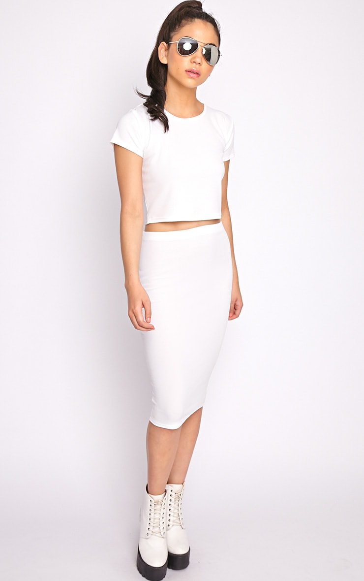 Alexa White Textured Midi Skirt -S/M 4