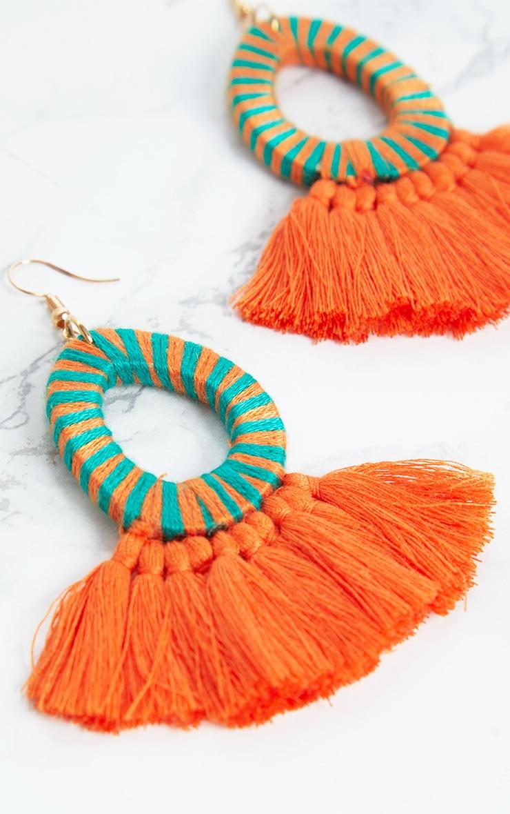 Orange Stripe Tassel Earrings 5