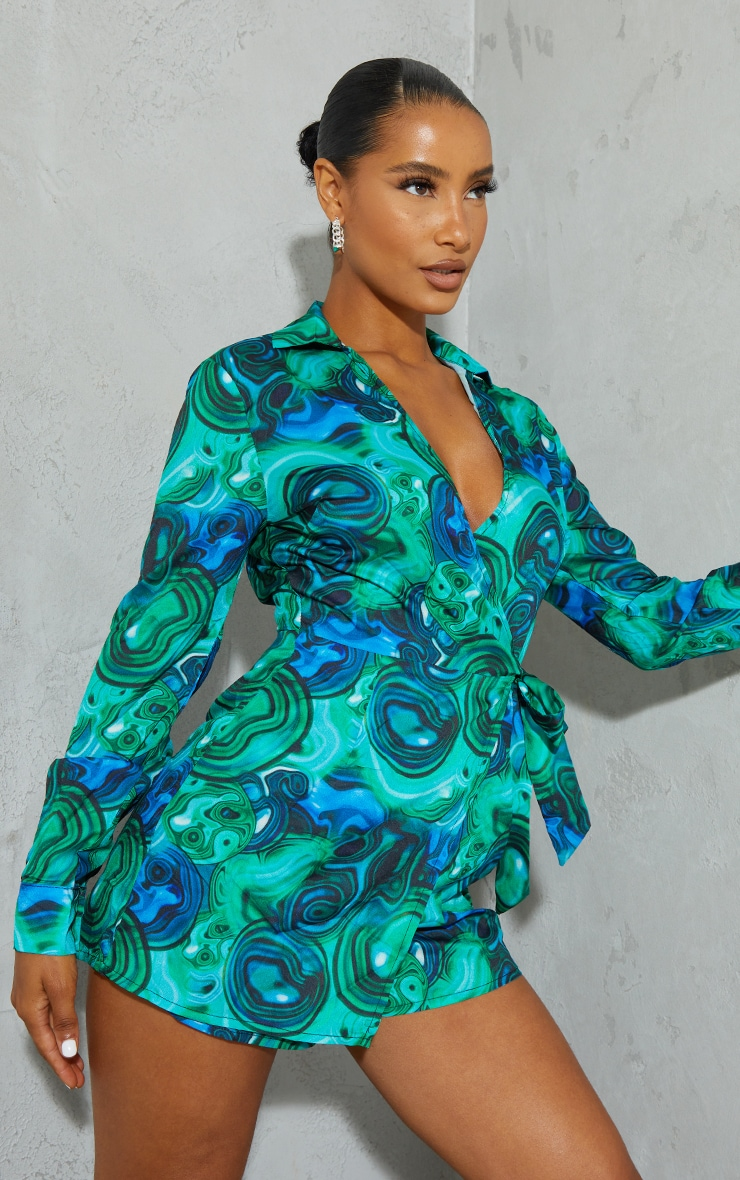 Blue Marble Print Wrap Collared Romper