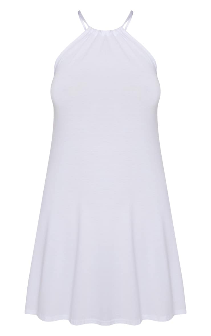 White Ruched Halterneck Shift Dress  4