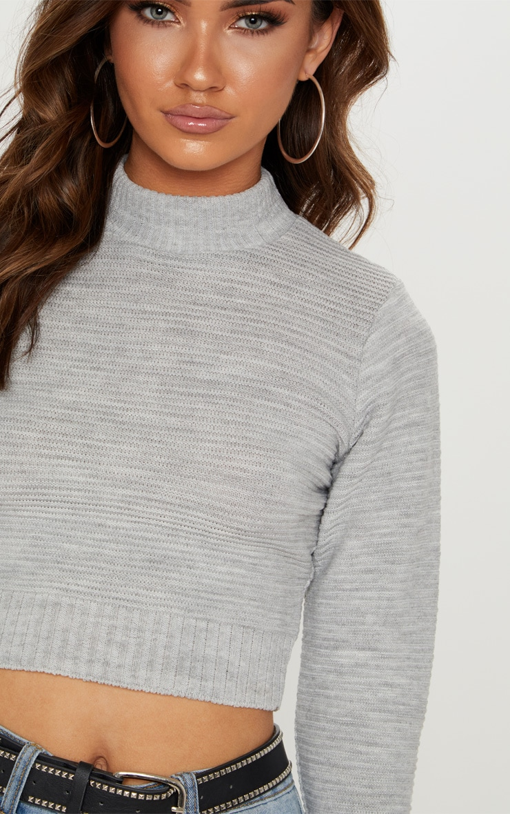 Grey Ribbed Cropped Knitted Jumper  5