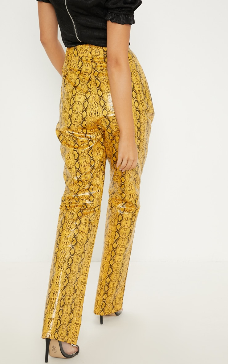 Mustard Faux Leather Snakeskin Straight Leg Trouser 4