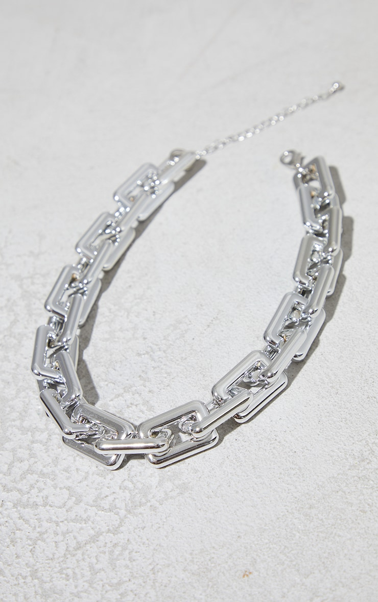 Silver Chunky Squared Link Necklace 1